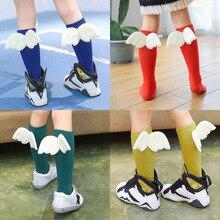 Bebek Çocuk Çorapları Melek Kanat Çocuk Uzun Diz Çorap Kızlar Için Çocuk Dikey Stripedr Hortum Şeker Renk Çocuk Çorap 2 10Y