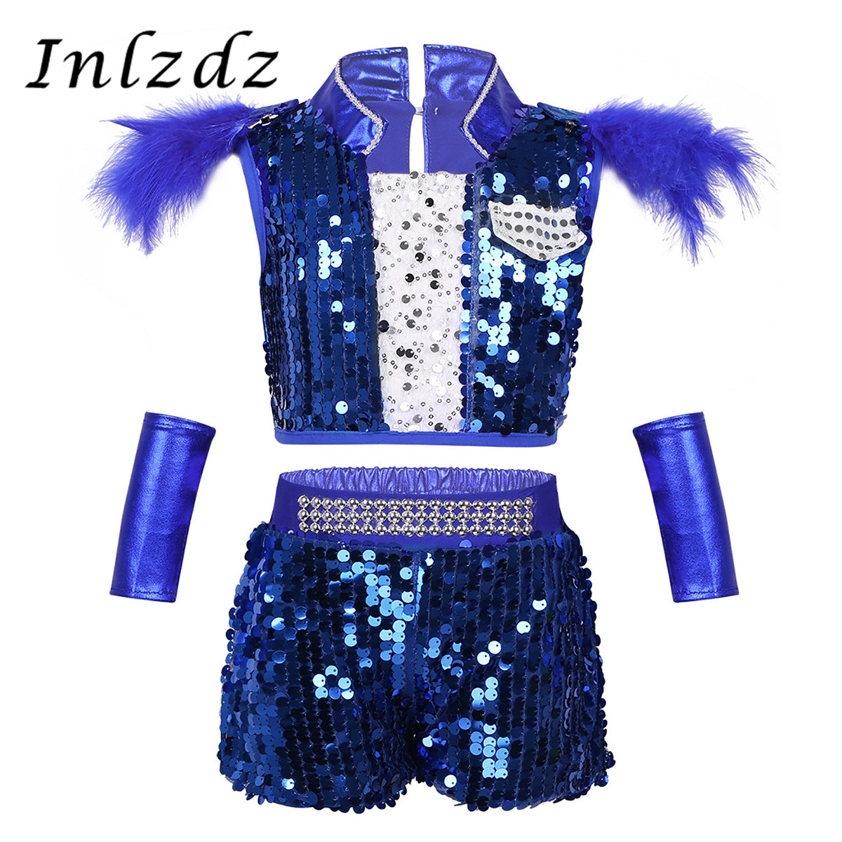 Kids Boys Girls Gymnastics  Jazz Leotard Costumes Outfit Shiny Sequins Crop Top With Short For Hip-hop Street Dancing Dancewear