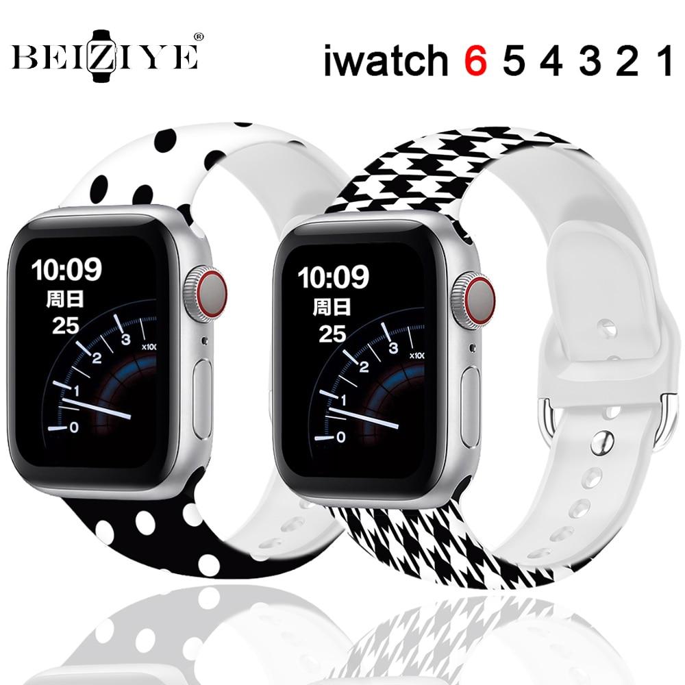 Impresso silicone cinta para apple relógio 6 banda 40mm 44mm silicone esporte cinta para iwatch 38mm 42mm série 6 se 5 4 3 2 pulseira