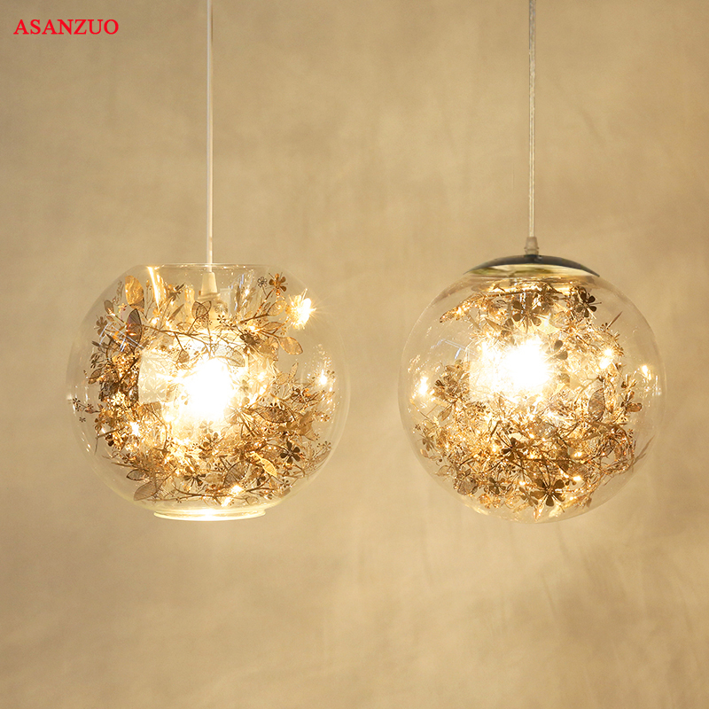 Metal Flower & Glass Shade Pendant Lights Modern Living Room Dining Room Bedroom Bathroom Pendant Lamp E27