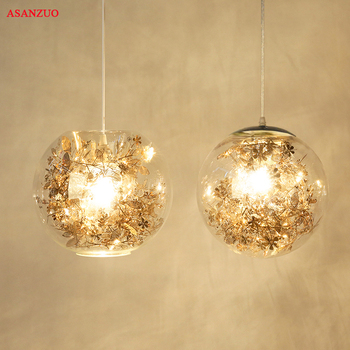 Metal Flower & Glass Shade pendant lights Modern Living Room Dining Room Bedroom Bathroom Pendant lamp E27 gold led dressing room pendant lamp with acryl shade bedroom dining room pendant light chinese style e27 lustres e pendentes