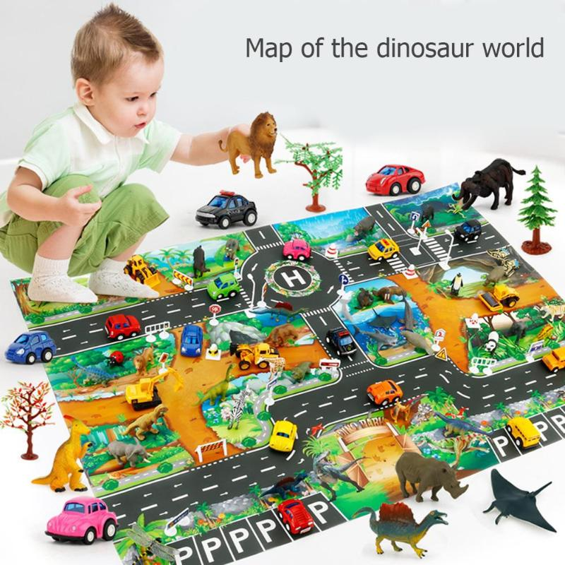 Baby Crawling Mat Climbing Pad City Traffic Road Carpet Playmat Rug For Cars English City Parking Lot Map Play Carpet For Baby