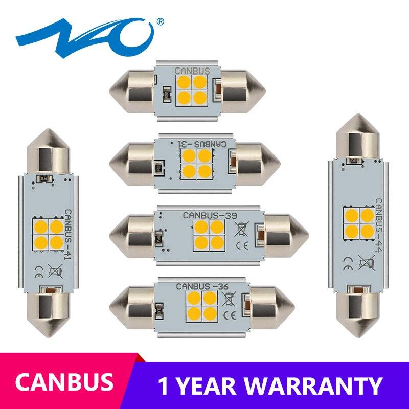 NAO C5W Led C10W 28mm 31mm CANBUS Error Free Festoon 12V 3030 Car Accessories Interior Lights 36mm 39mm 41mm 44mm C5W Dome Bulbs