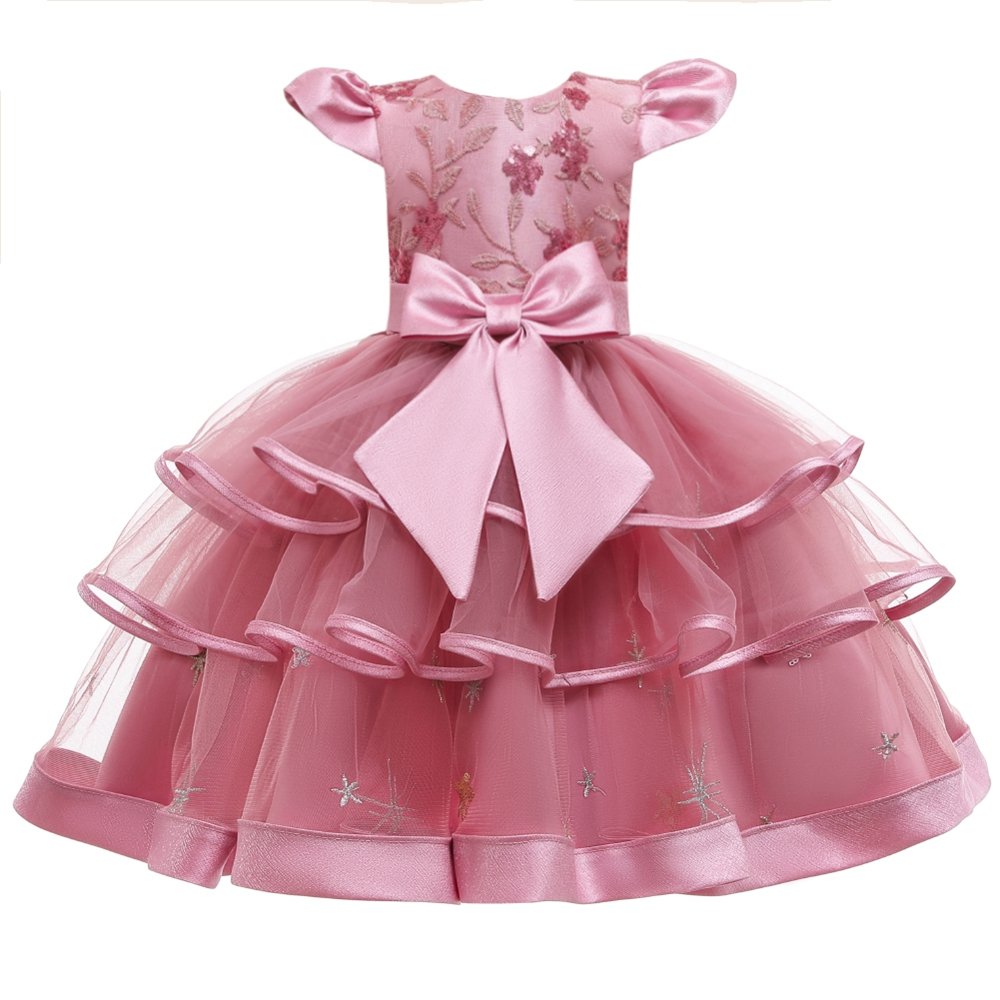 Girl Floral Dress Summer Vintage Kid Clothes Robe Fille Pink Dress Princess Vestidos Roupa Infantil Menina Sukienki