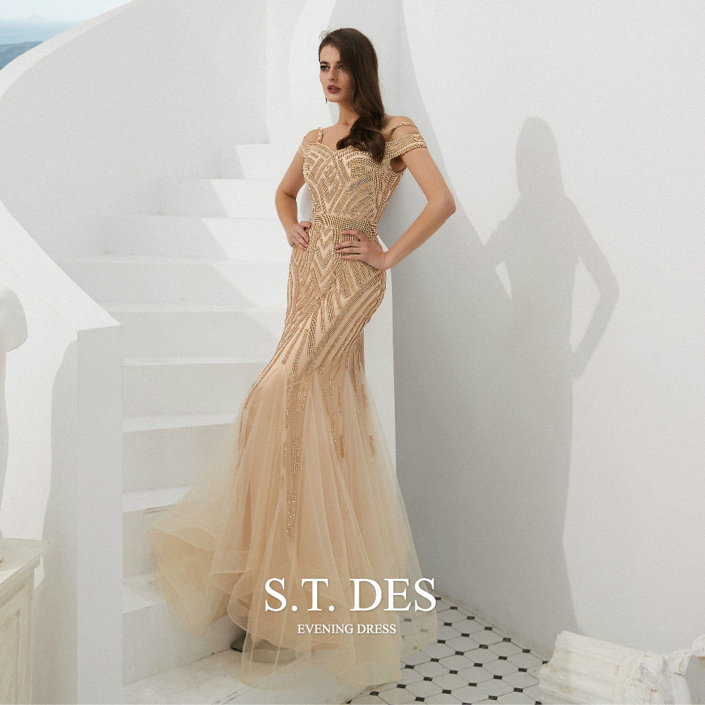 2020 S.T.DES Sexy Stripe Sequined Beaded Off-Shoulder Prom Dress Spaghetti Short Sleeves Floor-Length Evening Dress  For Woman