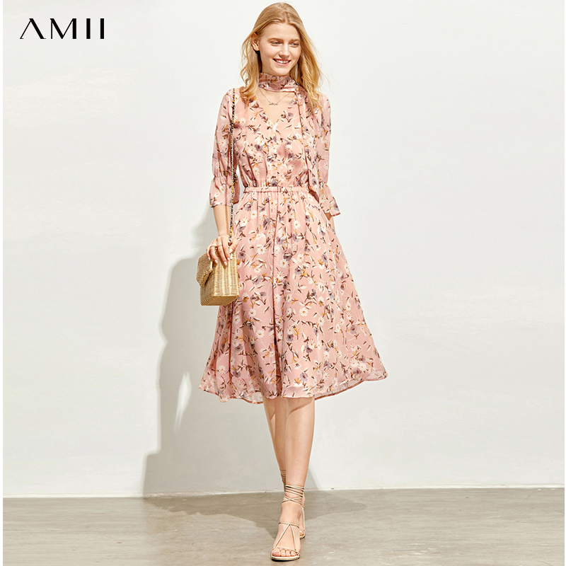 AMII Minimalism Spring Summer Chiffon Printed Dress Women Causal Vneck High Waist Belt Long Dress 11970321