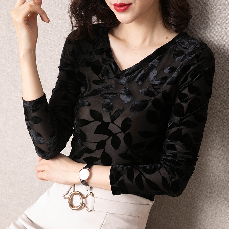 2021 Spring Office Ladies Style Flocking Woman's Tops Plus Size V-Neck Print Ladies Shirts Long Sleeve Slim Shirts for Female
