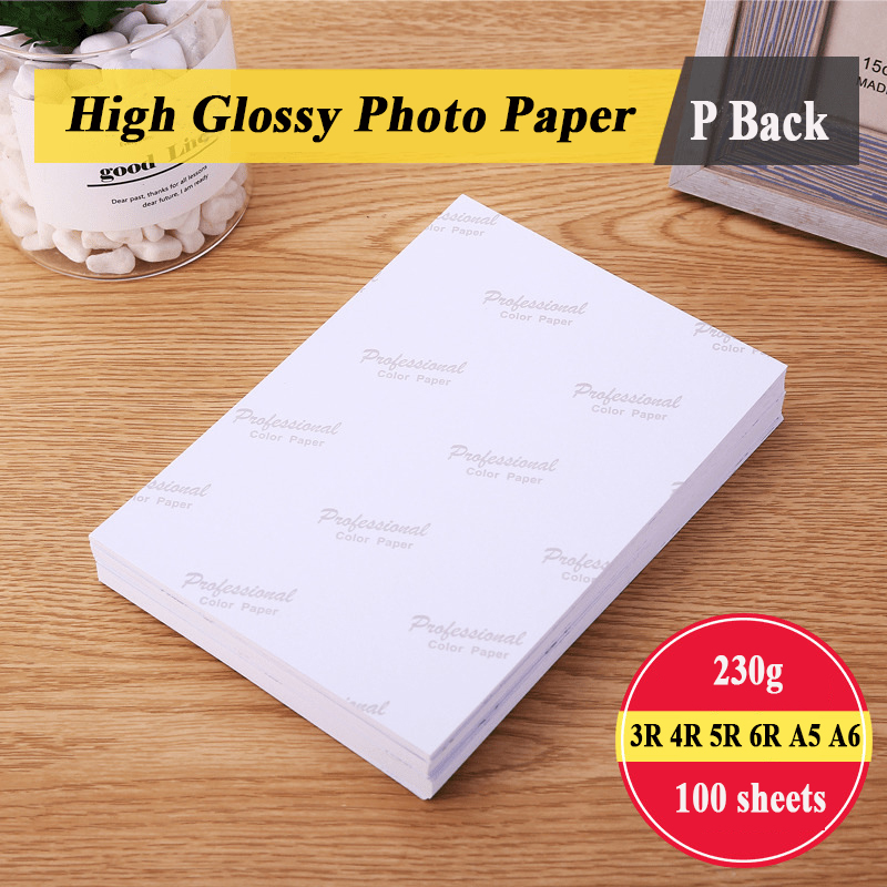 Photo Paper 3R 4R 5R 6R A5 A6 100 Sheets 230g For Inkjet Printer High Glossy Photographic Coated Printing Paper
