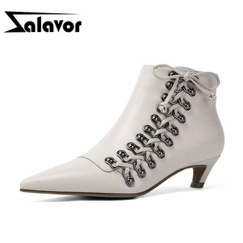 ZALAVOR New Hot Stylish Real Leather Women Ankle Boots Lacing Shoes Women Pointed Toe Zipper Female Work Zapatos Size 34-39