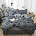 Комплект постельного белья OLOEY с геометрическим рисунком в клетку  пододеяльник  простыня с цветочным рисунком  кровать размера king  queen  серы...