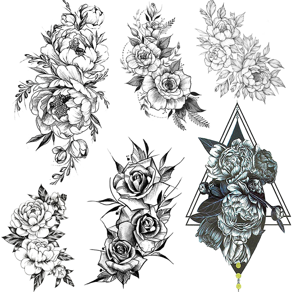 Realistic Fake Flower Arm Tattoos Temporary Peony Bloosom Body Leg Art Tatoo Paper For Women Sexy Floral Rose Tatoo Stickers DIY