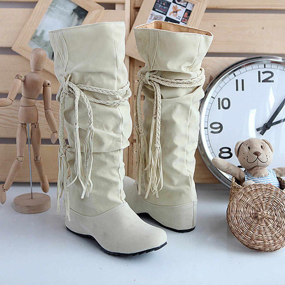 2019 kadın botları yükseltmek platformları uyluk yüksek Tessals kızın kama kış çizmeler dantel kadar botas mujer invierno buty damskie