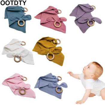 Baby Cotton Bibs Beech Wooden Ring Pacifier Rabbit Bunny Ear Teether Saliva Towel Teething Chewing Soother Molar Kit Infant Toys