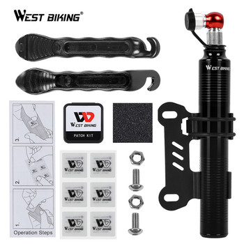 WEST BIKING Portable Bike Pump Cycling Bicycle Tire Lever Patch Repair Tools Set Presta Schrader Valve MTB Road Bike Hand Pump bike hand tire lever bead jack lever tool for hard to install bicycle tires removal clamp for difficult bike tire cycling tools