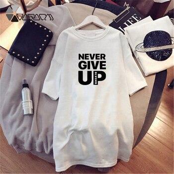 Women Dresses NEVER Series Letter Plus Size Black Mini Dress Loose Summer Long T Shirt Casual Clothes Femme Tops White Sukienka 56