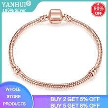Yanhui mulheres fina rosa cor de ouro cobra corrente pulseira caber contas originais charme diy pulseira prata 925 jóias sieraden