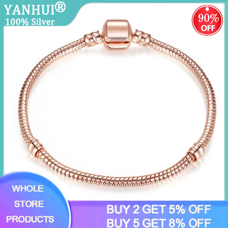 Женский браслет-цепочка YANHUI, изящный розовый браслет-змея золотистого цвета, из серебра 925 пробы, с оригинальными бусинами