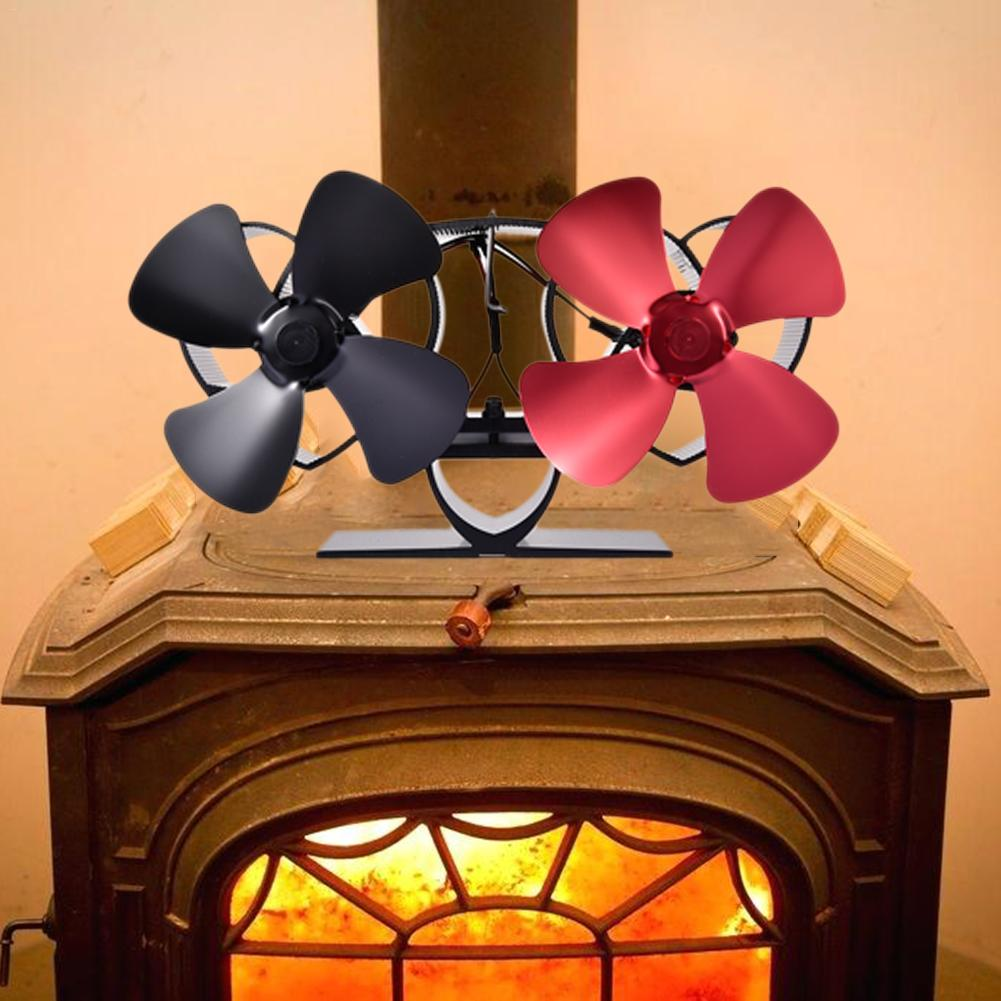 8 Blade Heat Powered Stove Fan Specially For Large Room For Fireplace, Wood/Log Burner Dual Head Wall Mounted Stove Fan