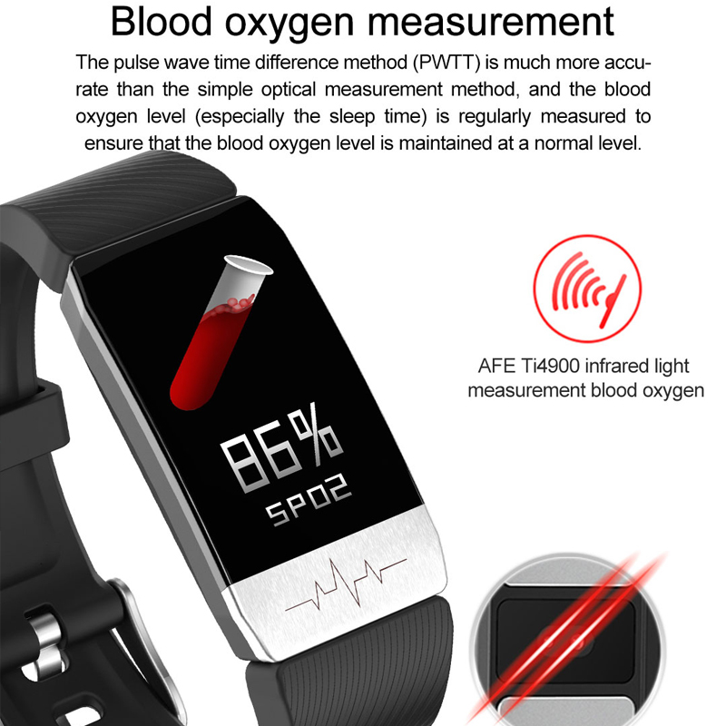 MAFAM T1 Smart Watch Band Temperature Measure ECG Heart Rate Blood Pressure Monitor Weather Forecast Drinking Remind men women 2