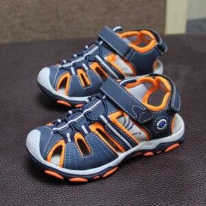 Image 1 - 新デザイン 1 ペア少年子供ビーチサンダルの革の靴、レジャーの子供靴