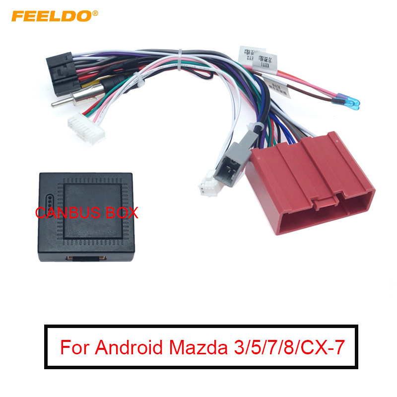 FEELDO 1PC Android Car Media Player Power Cable 16 PIN Adapter for Mazda 3 5 7 8 CX-7 with Canbus Box Radio Wiring Harness