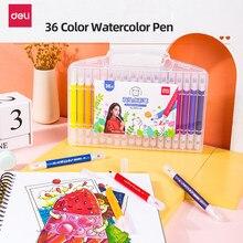 Deli Soft-tip akwarela Pen zmywalny nietoksyczny 36/48 kolorowy obraz zestaw dzieci przedszkole uczniowie z kolorowy obraz pędzel do malowania