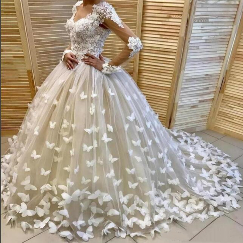 Fabulous Bridal Wedding Dresses With 3D Floral Butterflies Appliques Beading V Neck Sexy Illusion Long Sleeve Lace Wedding Dress