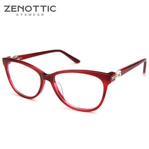 Image 3 - ZENOTTIC Retro Acetat Cat Eye Brille Rahmen Frauen Luxus Optische Myopie Spektakel Rahmen Klare linse Brillen