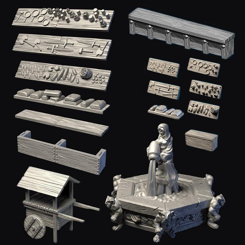 Dragons TRPG Lock Dungeons Town Village Starter Expansion Set II Miniature Bbg Game Territory Tavern Market Scene 3d Models