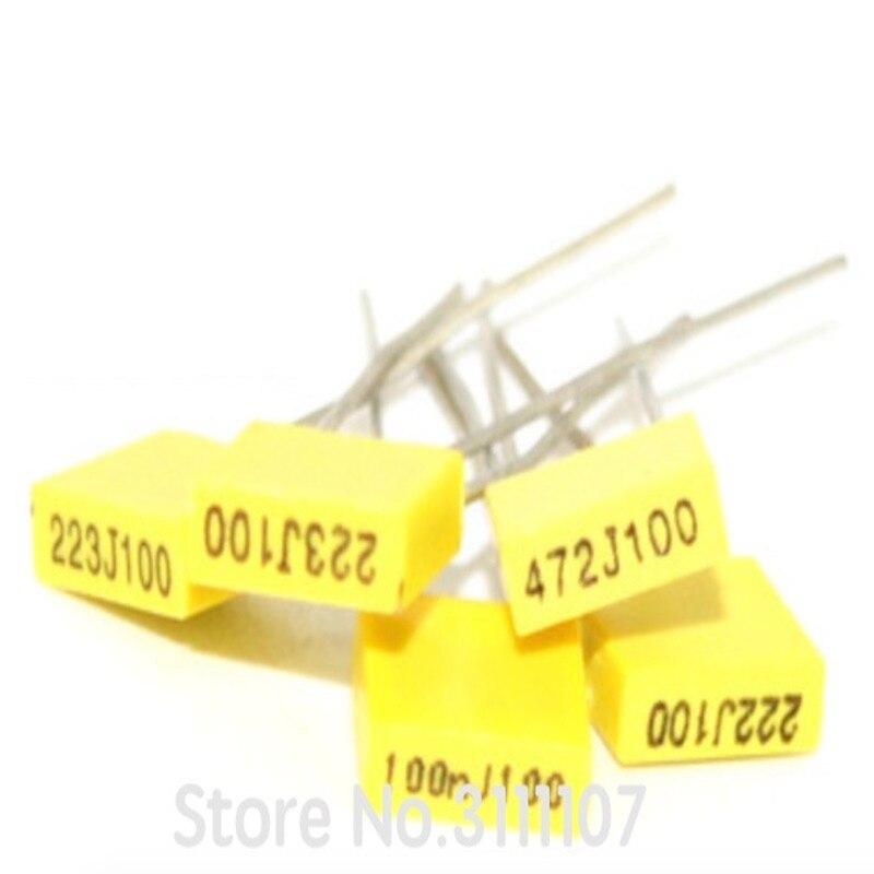20 PÇS/LOTE 1NF ~ 470NF 100V Polipropileno Segurança capacitor De Correção de Plástico Film100nf 22nf 47nf 1nf 0.47uf 10nf 0.1uf 220nf 104