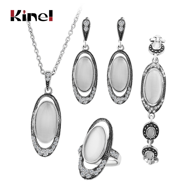Hot 4Pcs/Sets Vintage Wedding Jewelry Set For Women Ancient Silver Color White Opal Ring Necklace Bracelet And Earring Best Gift
