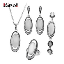 Hot 4Pcs/Sets Vintage Wedding Jewelry Set For Women Ancient Silver Color White Opal Ring Necklace Bracelet And Earring Best Gift(China)