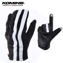 KOMINE Goat leather motorcycle gloves Breathable Real leather motocross protective gloves black&white stripes мото перчатки