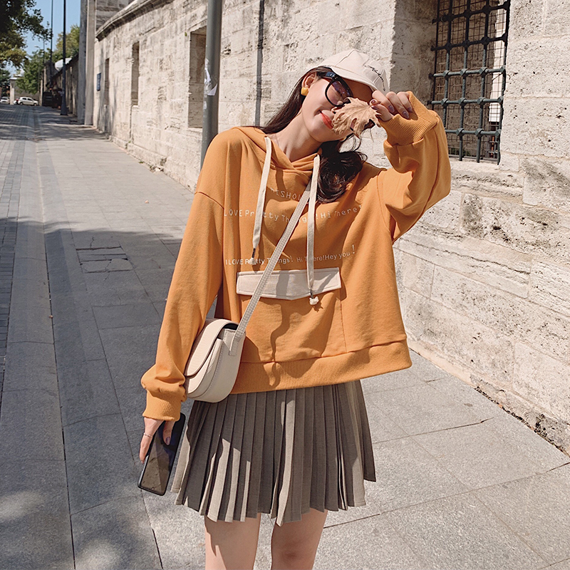 MISHOW 2019 Autumn Simple Causal Letter Sweatshirt Women Hooded Long Sleeve Pocket Loose Pullover Tops MX19C6731