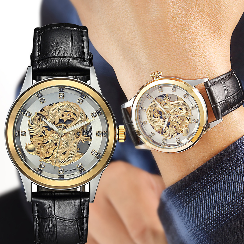 Montre de mouvement mécanique originale entièrement automatique de Dragon d'or d'affaires des hommes montre-bracelet imperméable d'affaires en acier de haute qualité