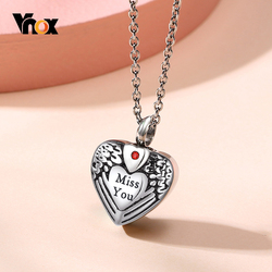 Vnox Hollow Heart with Wing Cremation Urn Pendant for Women Stainless Steel Angel Miss You Keepsake Necklace