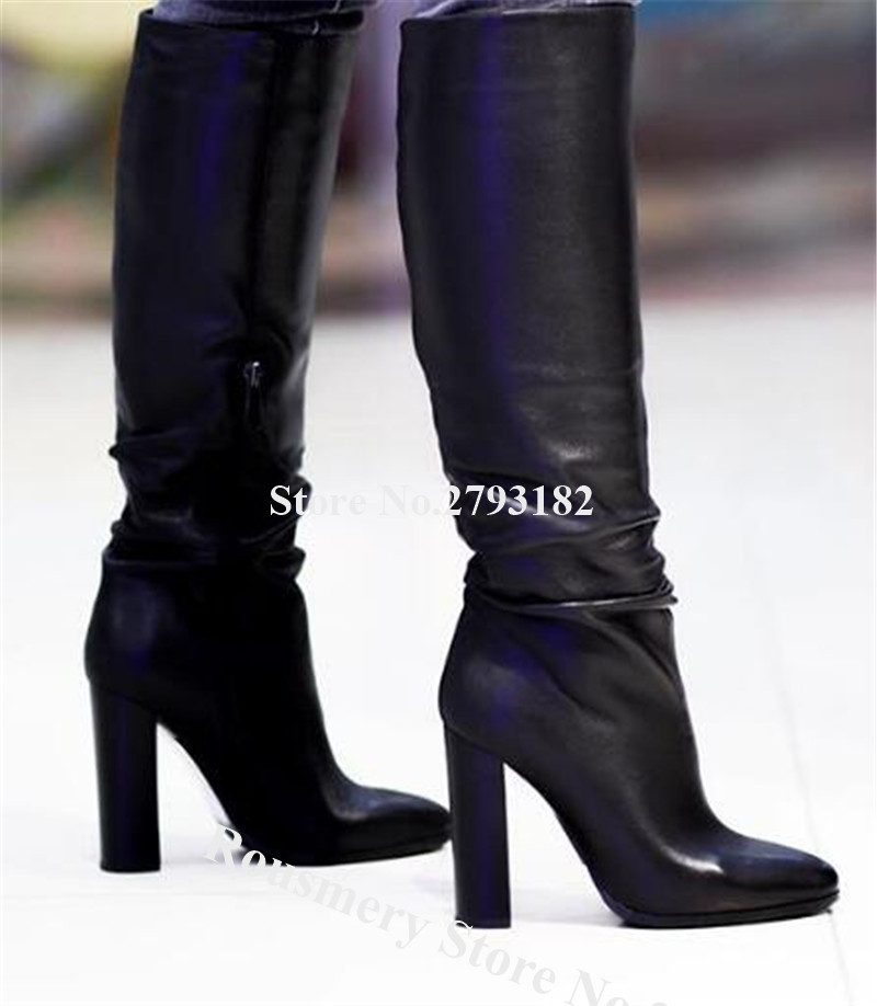 New Fashion Women Pointed Toe Knee High Chunky Heel Boots Black Leather Long Thick High Heel Boots Classical Style Boots