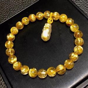 Image 3 - Genuine Natural Gold Rutilated Titanium Quartz Bracelet 7.5mm Woman Man Wealthy Clear Pi Xiu Pendant Carved Pendant AAAAA