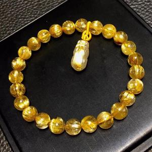 Image 3 - אמיתי טבעי זהב Rutilated טיטניום קוורץ צמיד 7.5mm אישה איש עשיר ברור Pi Xiu תליון מגולף תליון AAAAA