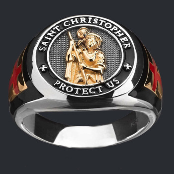 Hip Hop Fashion Men's Gold Jesus Carrying A Child Cross Ring Religious Bishop Christianity Cross Ring Punk Jewelry Party Gift image