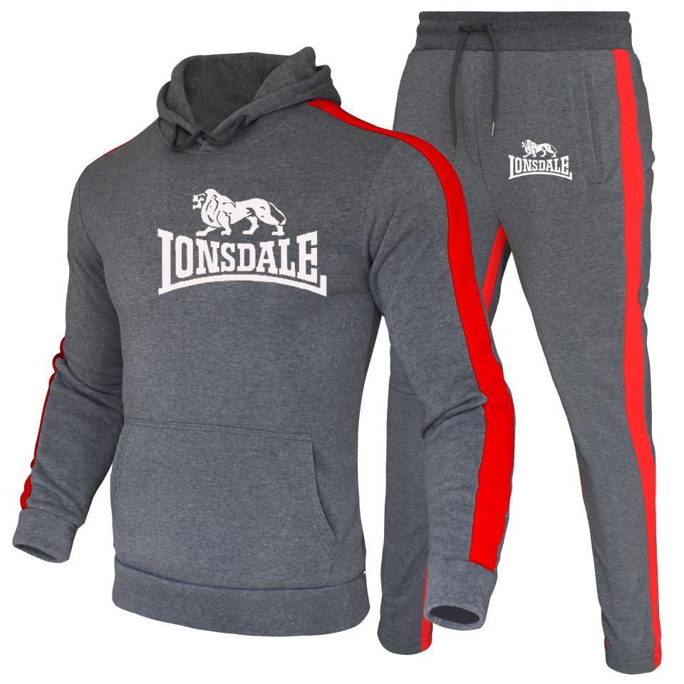 LONSDALE Men Hoodies Set Fashion 2020 Autumn Brand Casual Tracksuit Mens Set Sports Two Piece Patchwork Hoodie Pant Male Suit