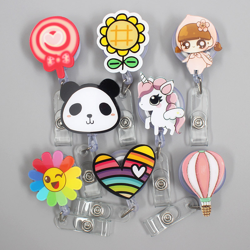 Cute Sun Flower Panda Gilrs Retractable Badge Holder Reel Exhibition Enfermera Student Boys Name Card Hospital Office Chest Card