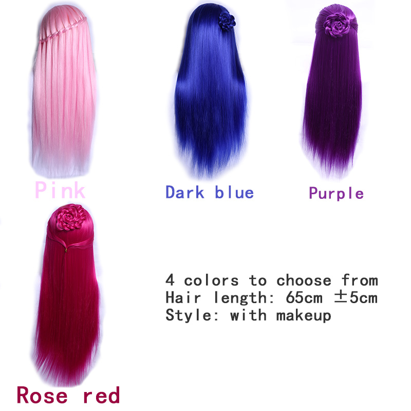 LVHAN 65cm Hair Styling Mannequin Head  Hair Long Hair Hairstyle Hairdressing Training Doll Female Mannequins With Wig