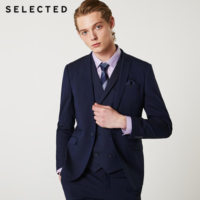 SELECTED Men's Regular Slim-Fit Closure Collar Blazer Pure Color Business Jacket Clothes T | 41935X503