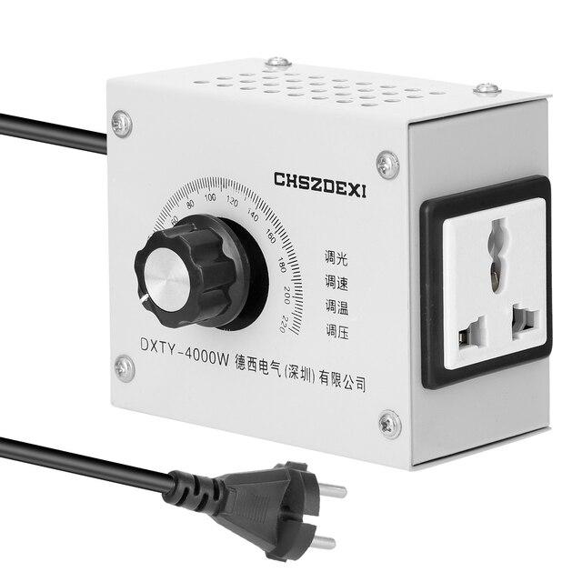 Regulador de voltagem variável compacto, regulador de temperatura de velocidade portátil, ajustável, tensão, transformator 220v 12v