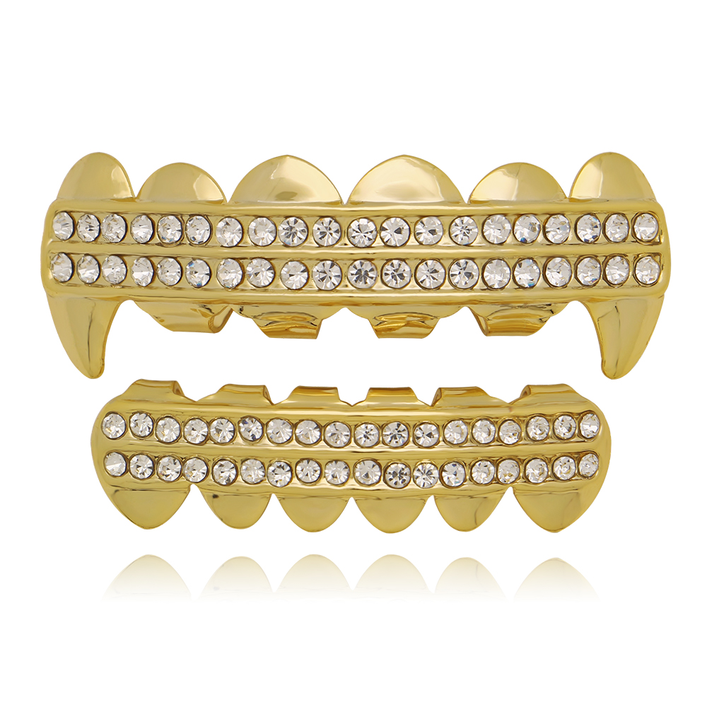 Men Punk Gold Teeth Grillz 2 Row Iced Out Grills Dental Hip Hop Vampire Fangs Teeth Caps Halloween Party Fashion Body Jewelry
