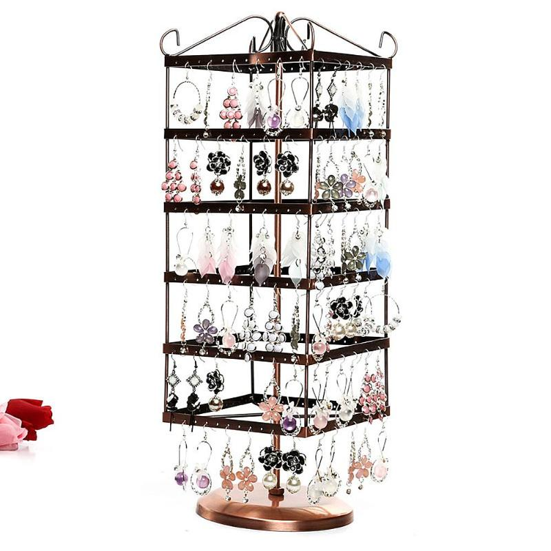 Jewelry Display Stand Holder Storage Box 288 Holes 6-layer Square Rotatable Earrings Necklace Jewelry Display Rack