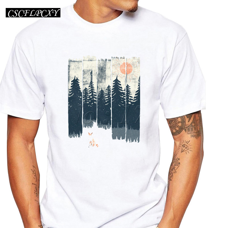 High Quality 2019 Newest A Fox In The Wild Design Men T-Shirt Short Sleeve Fashion Retro Printed Tops Summer Cool Tees
