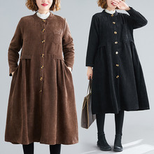 2020 Autumn Women's Clothing Spring Long Trench Coats New Casual Large Size Loose thin Corduroy Coat Female Outerwear N1125