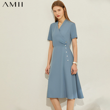 AMII Minimalism Spring Summer Causal Solid Pleated Women Dress